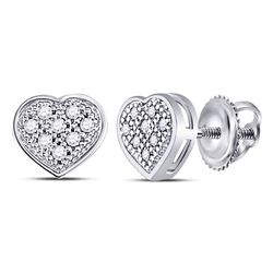 10kt White Gold Womens Round Diamond Heart Cluster Screwback Earrings 1/20 Cttw