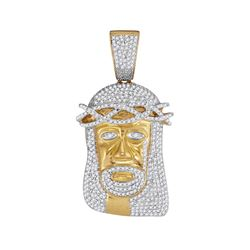 10kt Yellow Gold Mens Round Diamond Jesus Face Charm Pendant 1-1/5 Cttw