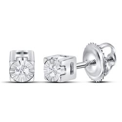 Sterling Silver Womens Round Diamond Solitaire Stud Earrings 1/20 Cttw