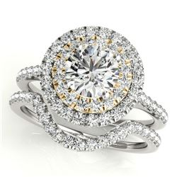 1.45 ctw Certified VS/SI Diamond 2pc Set Solitaire Halo 14k 2Tone Gold