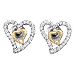 10kt White Gold Womens Round Diamond Heart Earrings 1/5 Cttw