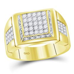 10kt Yellow Gold Mens Princess Diamond Square Cluster Ring 1-3/4 Cttw