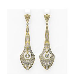 4.45 ctw Diamond Earrings 18K Yellow Gold
