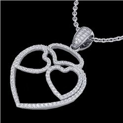 1.20 ctw Micro Pave VS/SI Diamond Heart Necklace 14k White Gold