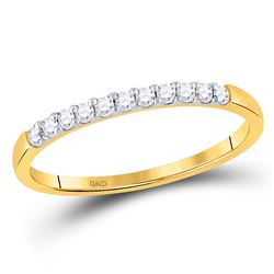 14kt Yellow Gold Womens Round Diamond Wedding Band Ring 1/6 Cttw