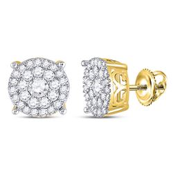 10kt Yellow Gold Womens Round Diamond Fashion Cluster Earrings 1.00 Cttw