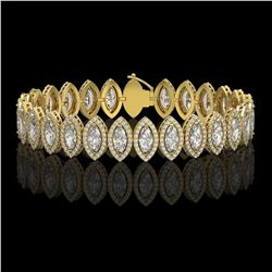 17.55 ctw Marquise Cut Diamond Micro Pave Bracelet 18K Yellow Gold