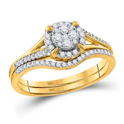 10kt Yellow Gold Womens Round Diamond Bridal Wedding Engagement Ring Set 3/8 Cttw