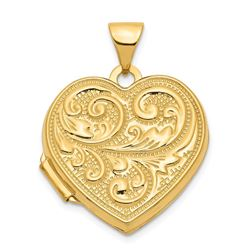 14k Yellow Gold Scrolled Love you always Heart Locket - 24 mm