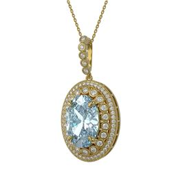 18.77 ctw Sky Topaz & Diamond Victorian Necklace 14K Yellow Gold