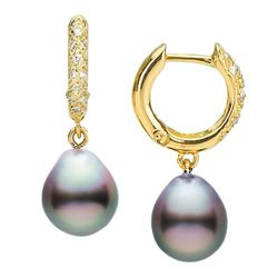 Large Black Tahitian Drop-Shape Pearl and Diamond Hoop Earrings