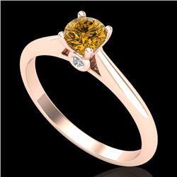 0.4 ctw Intense Fancy Yellow Diamond Art Deco Ring 18k Rose Gold