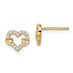 14k Cubic Zirconia Heart Post Earrings - 38 mm