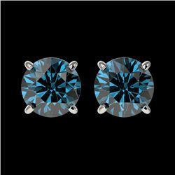 1.55 ctw Certified Intense Blue Diamond Stud Earrings 10k White Gold