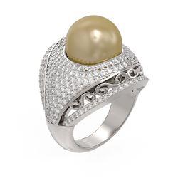 2.5 ctw Diamond & Pearl Ring 18K White Gold