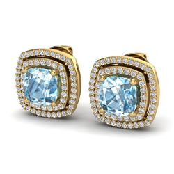 4.05 ctw Sky Blue Topaz & Micro VS/SI Diamond Earrings 18k Yellow Gold