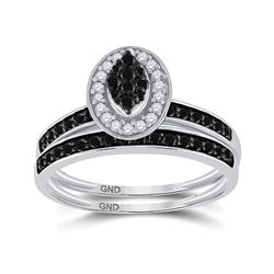 Sterling Silver Round Black Color Enhanced Diamond Bridal Wedding Engagement Ring Set 1/2 Cttw