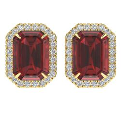 12 ctw Garnet & Micro Pave VS/SI Diamond Earrings 18k Yellow Gold