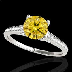 2 ctw Certified SI/I Fancy Intense Yellow Diamond Ring 10k White Gold