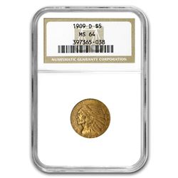 1909-D $5 Indian Gold Half Eagle MS-64 NGC