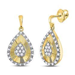 10kt Yellow Gold Womens Round Diamond Teardrop Dangle Earrings 1/3 Cttw