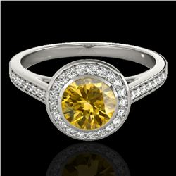 1.3 ctw Certified SI/I Fancy Intense Yellow Diamond Ring 10k White Gold