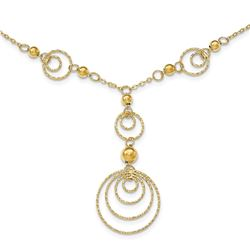 14k Gold Textured Circles w/Polished Beads Necklace