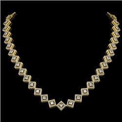 16.4 ctw Princess Cut Diamond Micro Pave Necklace 18K Yellow Gold