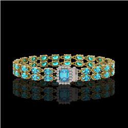 17.24 ctw Swiss Topaz & Diamond Bracelet 14K Yellow Gold