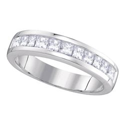 14kt White Gold Womens Princess Diamond Wedding Channel Set Band 1.00 Cttw Size 9
