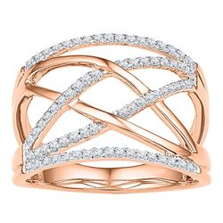 10kt Rose Gold Womens Round Diamond Crisscross Crossover Band Ring 1/3 Cttw