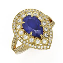5.12 ctw Certified Sapphire & Diamond Victorian Ring 14K Yellow Gold