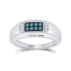 10kt White Gold Mens Round Blue Color Enhanced Diamond Band Ring 1/3 Cttw