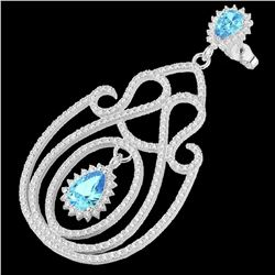 6.40 ctw TOPAZ & Micro Pave VS/SI Diamond Earrings 14k White Gold