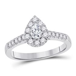 14kt White Gold Womens Pear Diamond Solitaire Bridal Wedding Engagement Ring 1/2 Cttw