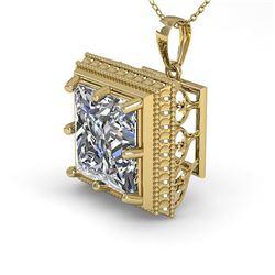 1 ctw VS/SI Princess Diamond Necklace Art Deco 14k Yellow Gold