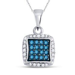 10kt White Gold Womens Round Blue Color Enhanced Diamond Square Pendant 1/4 Cttw