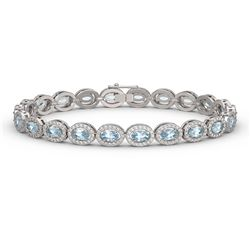 10.76 ctw Sky Topaz & Diamond Micro Pave Halo Bracelet 10k White Gold