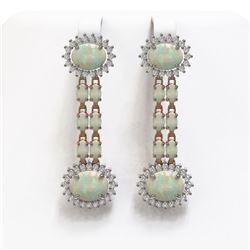 9.48 ctw Opal & Diamond Earrings 14K Rose Gold