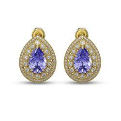 8.54 ctw Tanzanite & Diamond Victorian Earrings 14K Yellow Gold