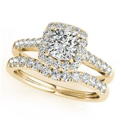 1.45 ctw Certified VS/SI Cushion Diamond 2pc Set Halo 14k Yellow Gold