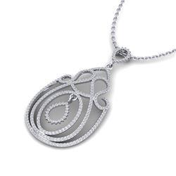 2 ctw Micro Pave Designer VS/SI Diamond Necklace 14k White Gold