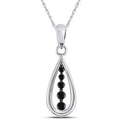 10kt White Gold Womens Round Black Color Enhanced Diamond Teardrop Pendant 1/8 Cttw