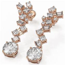 4 ctw Diamond Designer Earrings 18K Rose Gold