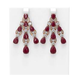 27.36 ctw Ruby & Diamond Earrings 18K Rose Gold