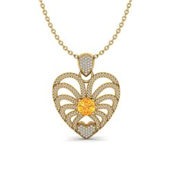 3 ctw Citrine With Micro Pave Diamond Heart Necklace 14k Yellow Gold