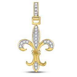 10kt Yellow Gold Mens Round Diamond Fleur-de-Lis Charm Pendant 1/10 Cttw