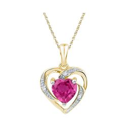10kt Yellow Gold Womens Round Lab-Created Pink Sapphire Heart Pendant 1.00 Cttw