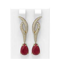 6.79 ctw Ruby & Diamond Earrings 18K Yellow Gold