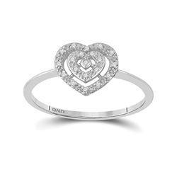 10kt White Gold Womens Round Diamond Slender Heart Cluster Ring 1/20 Cttw